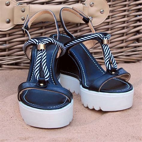 nautical wedge sandals nautical rope wedge sandals in navy and white by