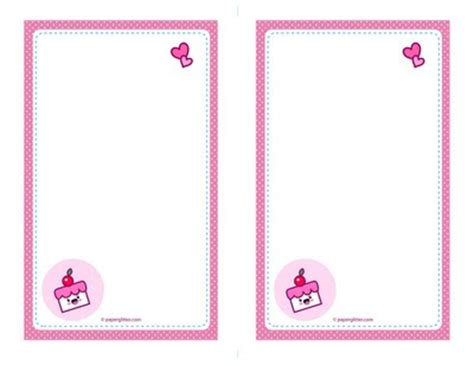 paper studio note card template free kawaii cake envelope note papers