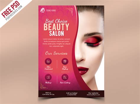 Beauty Salon Flyer Template Psd Psdfreebies Com Salon Flyer Templates Free