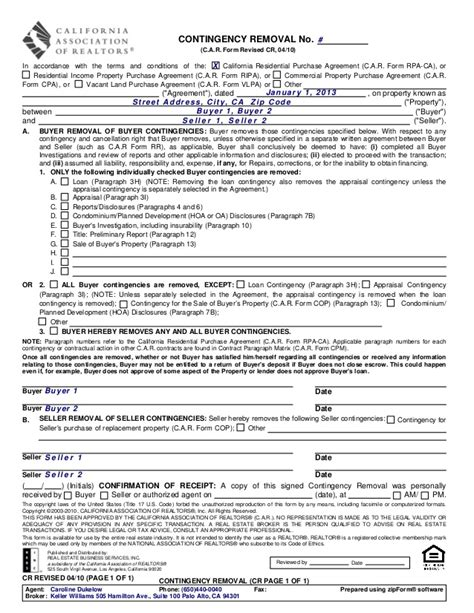 contingency agreement template cr 1 contingency removal 1 410
