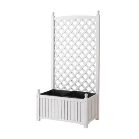 Wooden Trellis Home Depot dmc 28 in x 16 in white wood planter with trellis 70511 the home depot