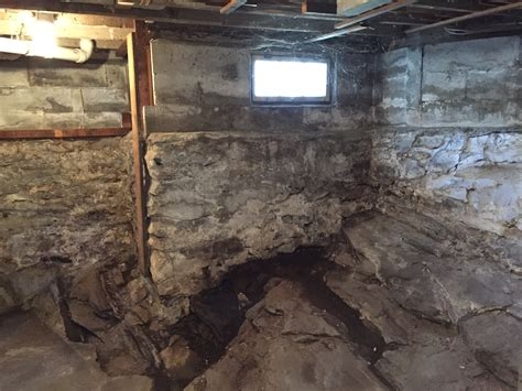 fieldstone basement field foundation on top of bedrock keep the water
