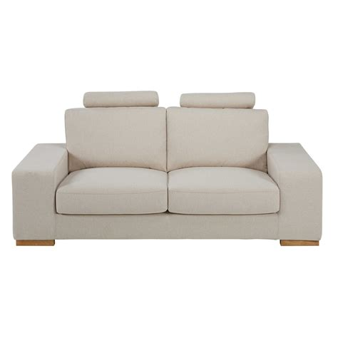 mottled beige 2 seater fabric sofa with headrests home