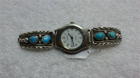 What Does Sterling Background Check Look For Sterling Silver Turquoise Band Bracelet American M Carriage Watches