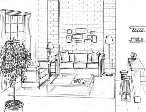 living room drawing dentyne perspective rooms buildings pinterest