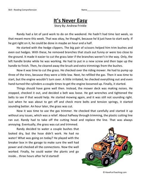 Fourth Grade Reading Worksheets by Reading Comprehension Worksheet It S Never Easy