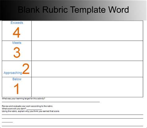 template for rubric 7 rubric templates free pdf word excel formats