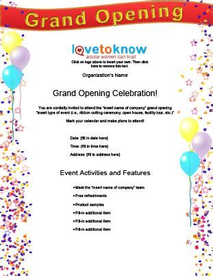Free Flyer Templates Lovetoknow Grand Opening Invitation Template Free