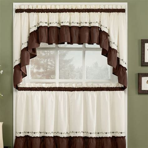 curtain white and brown for kitchen with rustic style