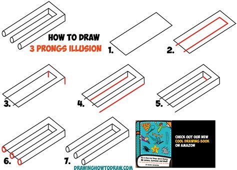 Tricks How To Draw by How To Draw 3 Prongs Optical Illusion Easy Step By Step