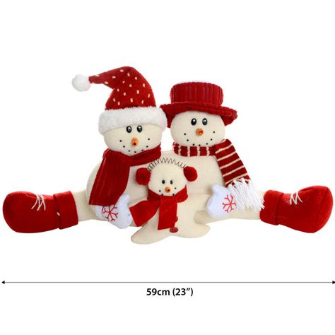 59cm beautiful festive fabric snowman family christmas