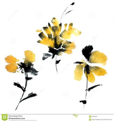 Safira Abstrack Set 4in1 Diskon yellow flowers set stock illustration image 59766757