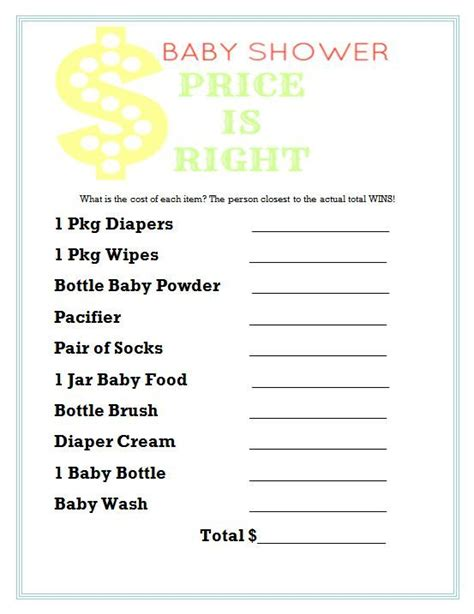 free printable price is right baby shower template price is right baby shower fabdiy