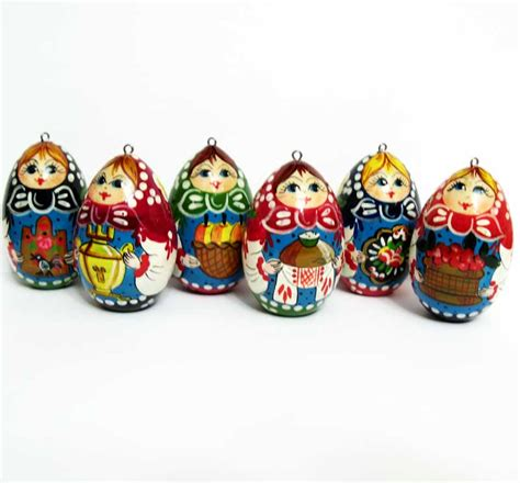 ornaments set matryoshka style hand painted christmas