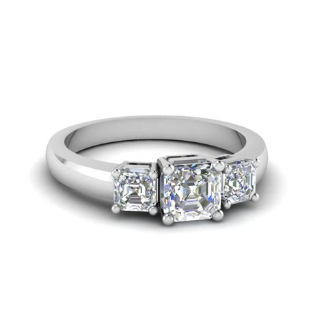 Simple One Engagement Rings simple three asscher cut engagement ring in 14k
