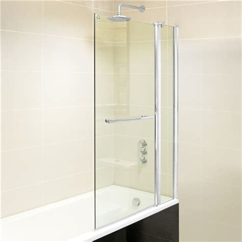 bath shower screens 2 part 300 750mm bath shower screen 8mm easy clean hugo oliver