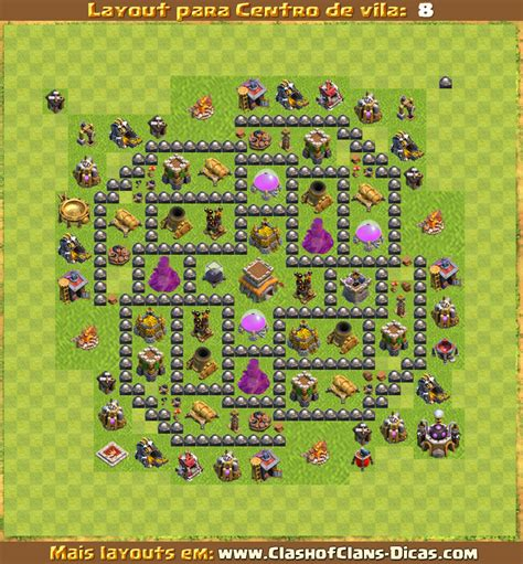 layout de cv 8 push layouts de centro de vila 8 para clash of clans