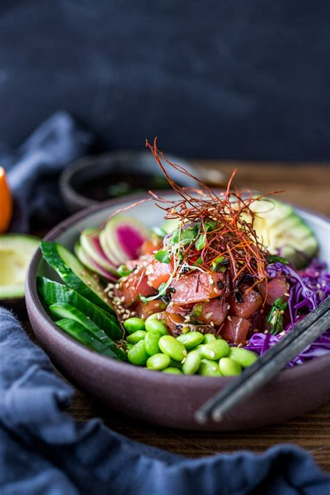 ahi poke bowl feasting  home