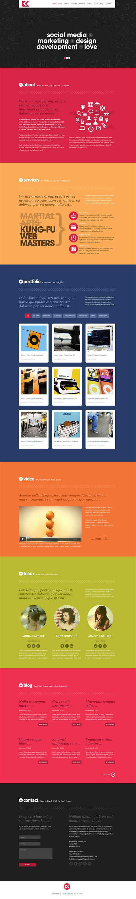 Theme Wordpress One Page Responsive | kronos one page responsive wordpress theme by