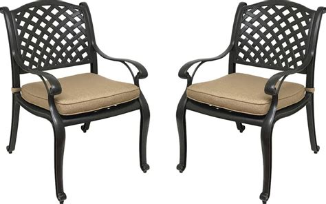 Patio Cushions For Dining Chairs Nevada Cast Aluminum Outdoor Patio Dining Chairs With