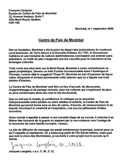 lettre de soutien projet recherche jacques langlais soutien au centre de paix de montreal