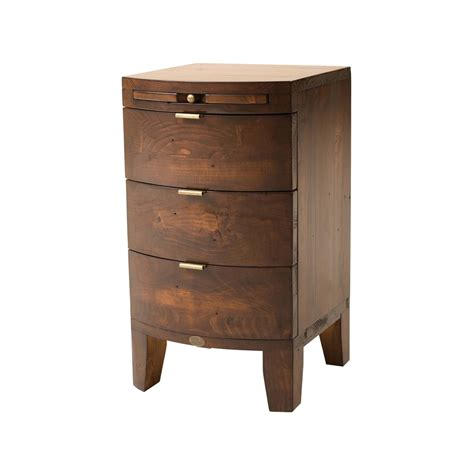 Nightstand With Drawer Reclaimed Wood Three Drawer Nightstand With Pull Out Shelf In Jamaican Sunset Finish