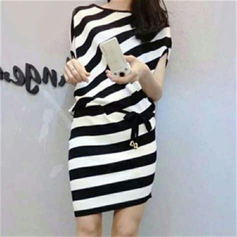 Dress Wanita Dress Salur Mini Dress Sale Only 50k baju dress pendek salur belang garis garis modern model