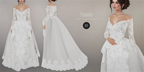 beo elisabeth wedding gown sims  sims  dresses sims