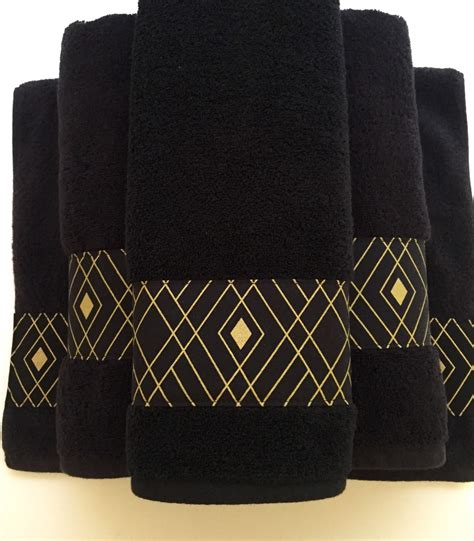 black bathroom towels black gold towels custom towels black bathroom black