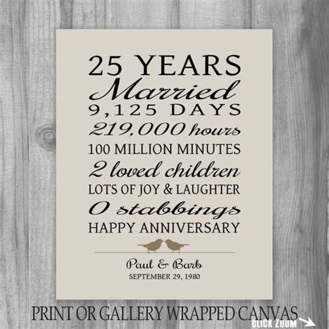25th Wedding Anniversary Quotes To i the quot no stabbings quot part 25 year anniversary gift