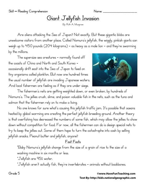 5th Grade Reading Comprehension Worksheets With Answers by Reading Comprehension Worksheet Jellyfish