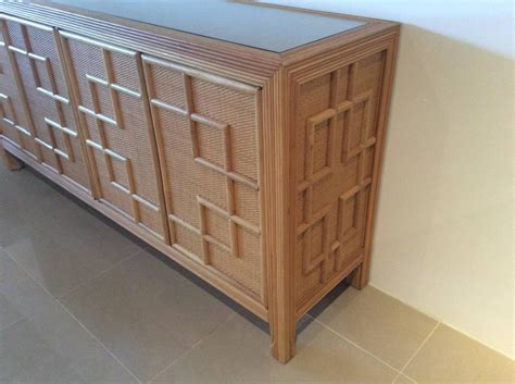 Bamboo Credenza pencil reed bamboo rattan wicker credenza vintage buffet sideboard dresser at 1stdibs