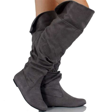 high tight boots suede gray gray suede the