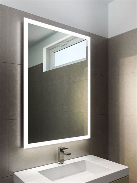 square   edge lit mirror  master bath vanity
