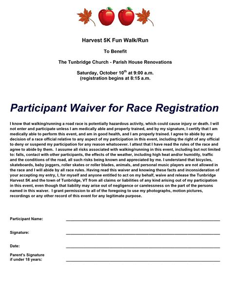 participant registration form template 5k walk run tunbridge church