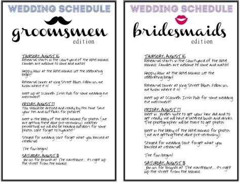 4 best images of wedding day agenda printable wedding