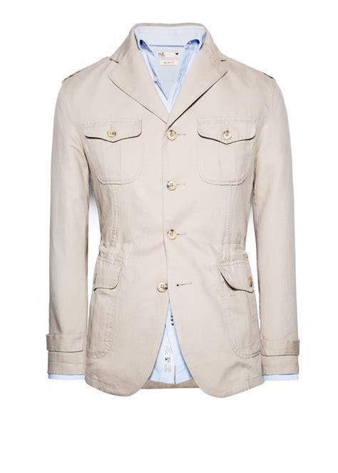 Linen Cotton Jacket mango linen cotton blend field jacket in beige for