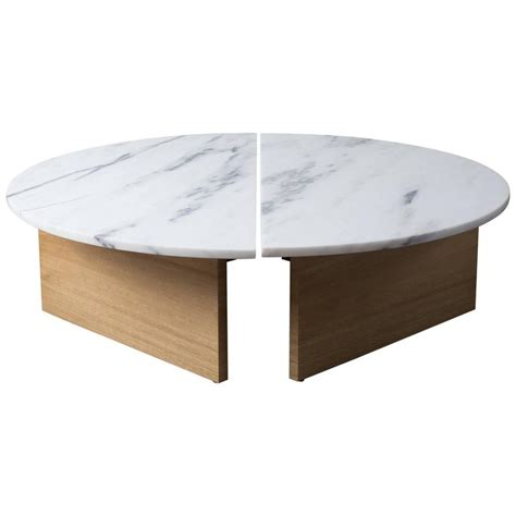Marble Coffee Table Modern Contemporary Half Moon Coffee Table In Imperial Danby Marble And White Oak For Sale At 1stdibs