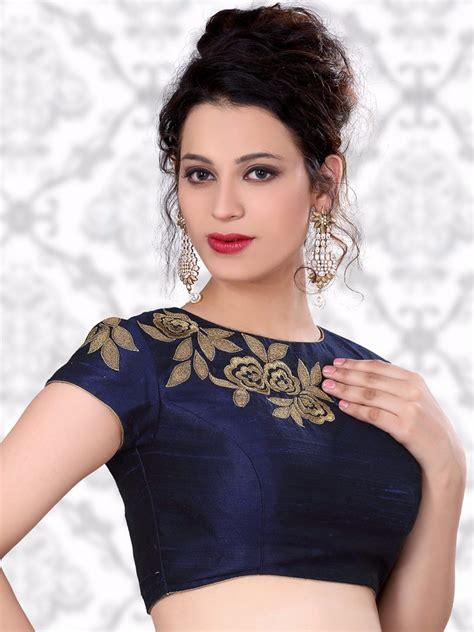 design blouse trendy embroidered blue saree blouse designs ideas