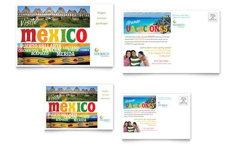 Mexico Travel Postcard Template Design Adobe Postcard Template