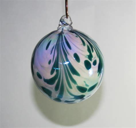 hand blown glass christmas ornament iridescent white with
