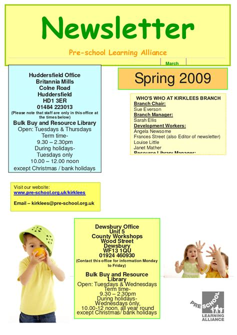 newsletter templates free printable best photos of printable preschool newsletters free