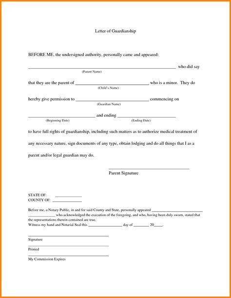 11 sle notarized letter for guardianship ledger paper