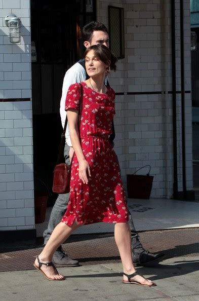 Keyra Dress Maroon By Sheika keira knightley and adam levine on set zimbio