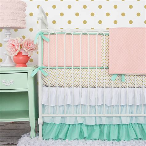 mint and coral bedding giveaway crib bedding from caden lane project nursery