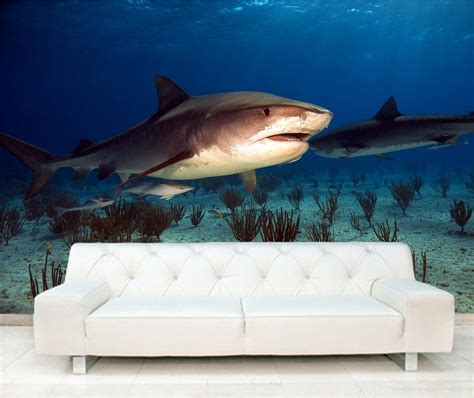 Wall Stickers Create Your Own self adhesive tiger shark decorating wall mural art 127