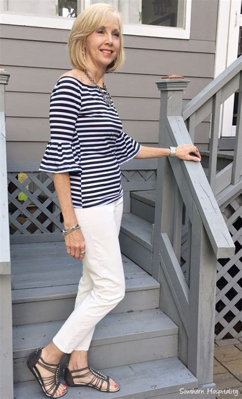 stylish guru over 50 pintrest fashion over 50 striped off the shoulder top southern