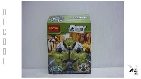 Decool 0183 Big Green Goblin Minifigure Lego Rmx8 decool lego bootleg marvel superheroes green goblin big fig set 0183 review