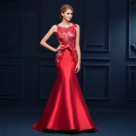 Aliexpress.com : Buy Red Robe de soiree Long Mermaid Evening Dress 2017 Scoop Neck Sweep Trail