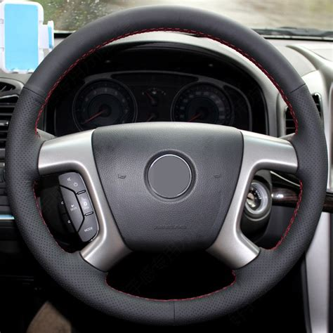 Car Cover Chevrolet Captiva black artificial leather car steering wheel cover for chevrolet captiva 2007 2014 silverado gmc